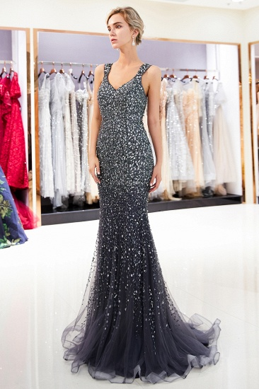 Glamorous V-Neck Rhinestones Prom Dress Long Mermaid Evening Gowns_12
