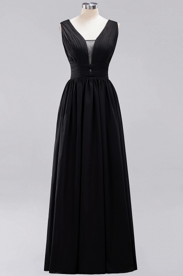 Modest Dark Green Long Bridesmaid Dress Deep V-Neck Chiffon Maid of Honor Dress_29