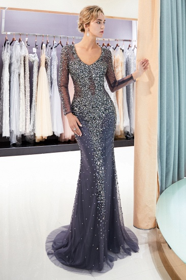 Afordable Mermaid V-Neck Long Sleeves Prom Dresses Sparkly Beading Evening Dresses On Sale_7