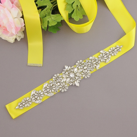 BMbridal Satin Flowers Pattern Wedding Sash with Pearls_8
