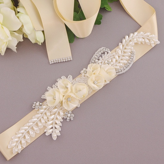 BMbridal Handmade Flower Pearl Wedding Sash with Beadings_6
