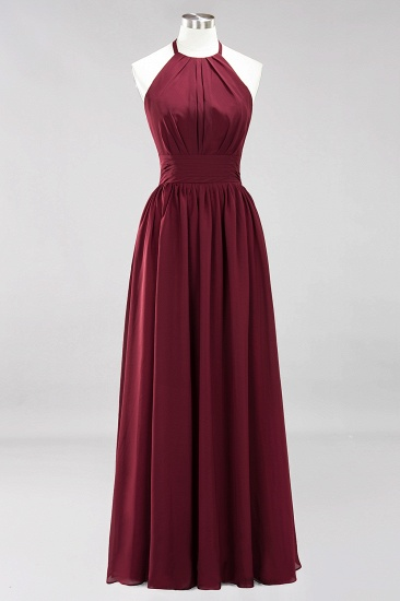 Elegant High-Neck Halter Long Affordable Bridesmaid Dresses with Ruffles_58