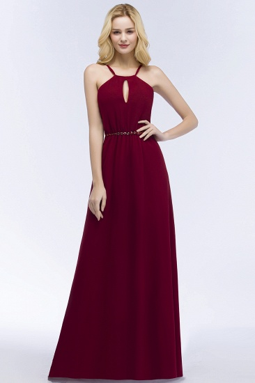 Burgundy Spaghetti Straps Long Bridesmaid Dress with Beading Sash_1