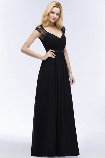 Elegant Lace Black V-Neck Sleeveless Bridesmaid Dress with Hollowout Back_4