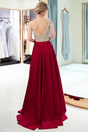 BMbridal Elegant V-neck Sleeveless Burgundy Prom Dresses A-line Crystal Beading Evening Dresses On Sale_3