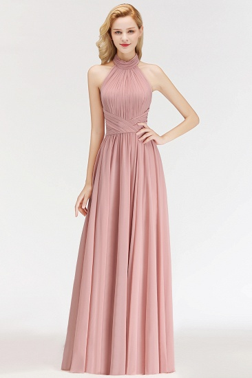 Gorgeous High-Neck Halter Backless Bridesmaid Dress Dusty Rose Chiffon Maid of Honor Dress_4