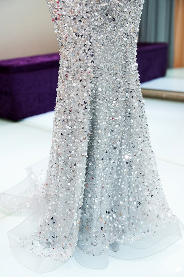 BMbridal Affrodable Mermaid Off-the-shoulder Prom Dresses Long Sequins Silver Evening Gowns Online_9