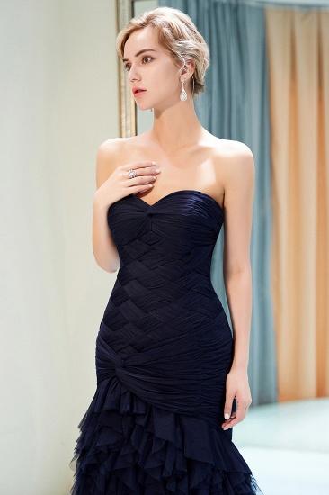 BMbridal Elegant Mermaid Sweetheart Strapless Prom Dresses Draped Tulle Long Evening Dresses On Sale_5