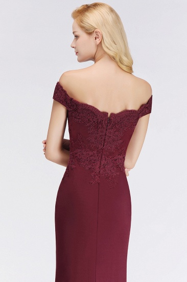 BMbridal Elegant Mermaid Off-the-Shoulder Burgundy Bridesmaid Dresses with Lace_14