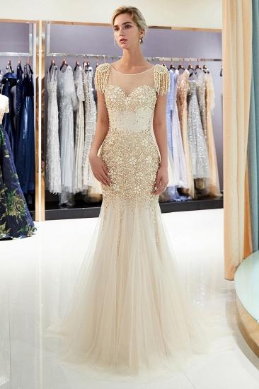 Elegant Mermaid Sleeveless Prom Dresses Flower Tulle Evening Dresses with Rhinestones_11