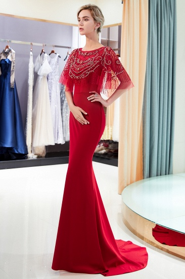 BMbridal Gorgeous Mermaid Jewel Long Prom Dresses Navy Beading Formal Dresses with Crystals_11