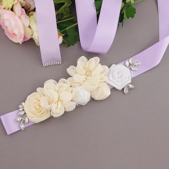 Fashion Chiffon Flowers Wedding Sash with Beadings_10