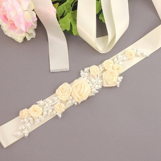 Elegant Satin Flowers Wedding Sash with Beadings_2