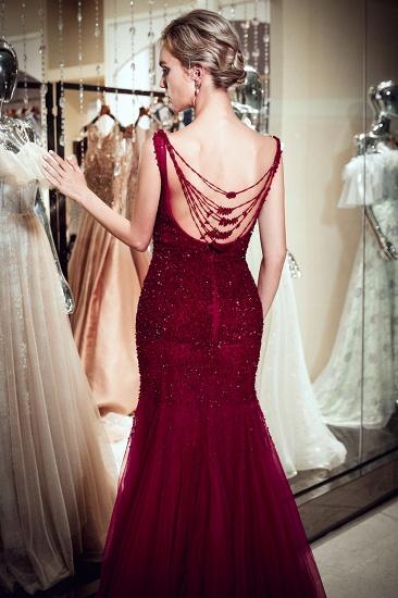 BMbridal Gorgeous Mermaid Sleeveless Prom Dresses Sequined Tulle Burgundy Formal Dresses Online_8