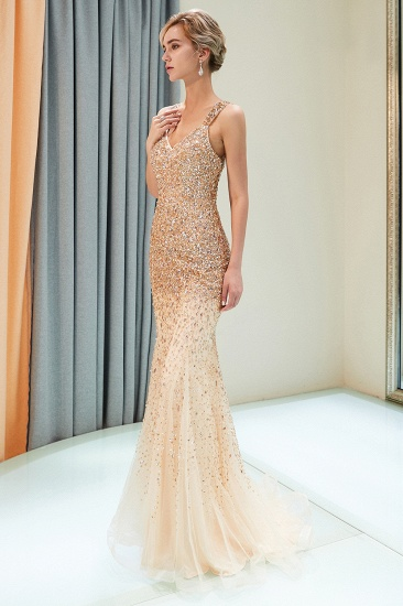 Glamorous V-Neck Rhinestones Prom Dress Long Mermaid Evening Gowns_6