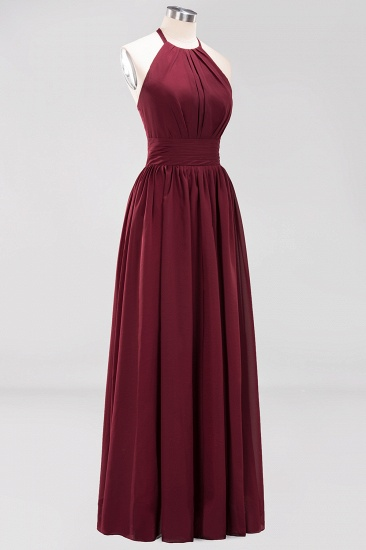 Elegant High-Neck Halter Long Affordable Bridesmaid Dresses with Ruffles_64