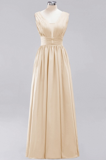 Modest Dark Green Long Bridesmaid Dress Deep V-Neck Chiffon Maid of Honor Dress_14