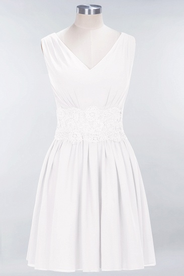 Pretty V-Neck Short Sleeveless Lace Bridesmaid Dresses Online_1