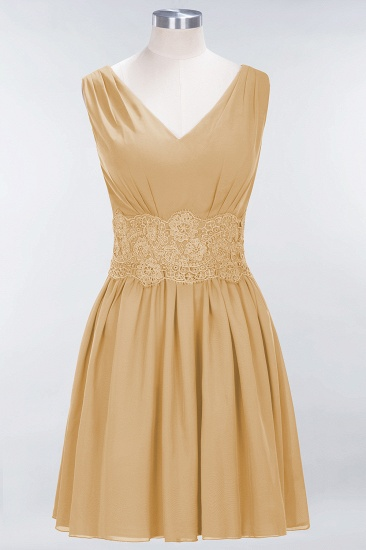 Pretty V-Neck Short Sleeveless Lace Bridesmaid Dresses Online_13