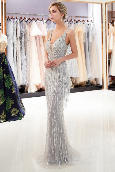 BMbridal Sexy Deep V-Neck Mermaid Silver Prom Sleeveless Sleeveless Crystals Formal Dresses with Tassels_2