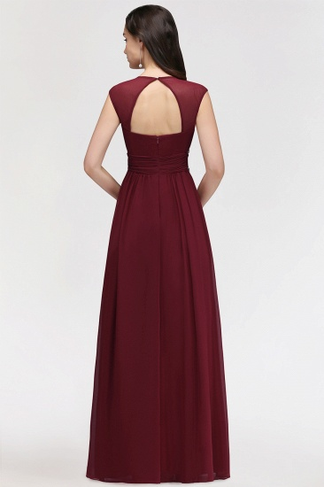 Chiffon Burgundy V-Neck Cap Sleeve Bridesmaid Dress with Beadings_3