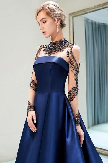 BMbridal Glamorous A-line Long Sleeves Prom Dresses Beading Neckline Satin Evening Gowns On Sale_6