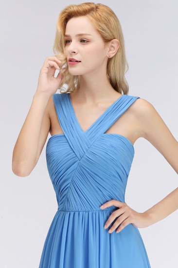 Chic Crisscross Ocean Blue Junior Bridesmaid Dresses Affordable Chiffon Ruffle Maid of Honor Dresses_7