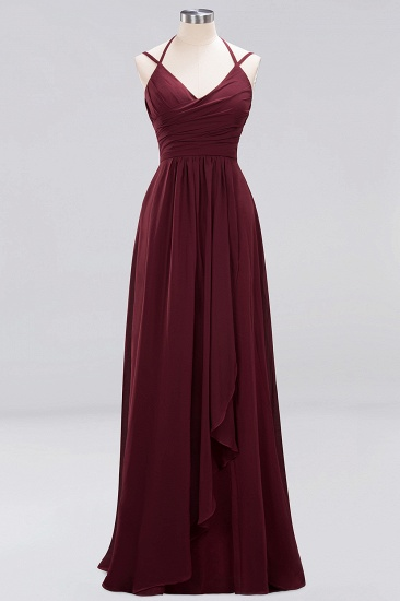 Affordable Chiffon Burgundy Bridesmaid Dress With Spaghetti Straps_61