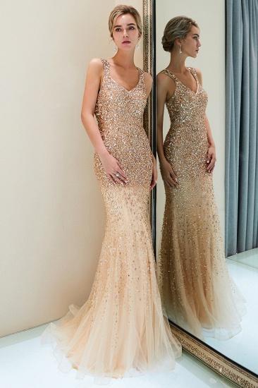 Glamorous V-Neck Rhinestones Prom Dress Long Mermaid Evening Gowns_5