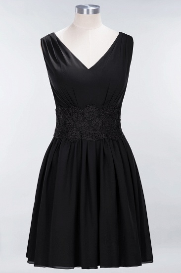 Pretty V-Neck Short Sleeveless Lace Bridesmaid Dresses Online_29