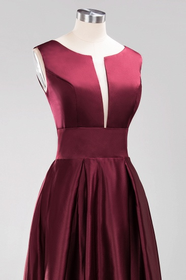 Vintage Deep-V-Neck Long Burgundy Bridesmaid Dress Online_8
