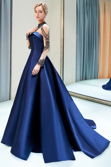 BMbridal Glamorous A-line Long Sleeves Prom Dresses Beading Neckline Satin Evening Gowns On Sale_5