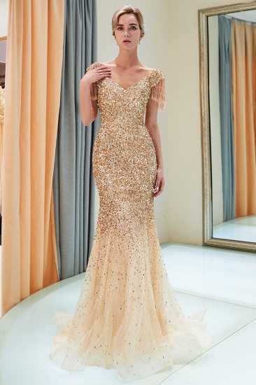 Elegant Mermaid Off-the-shoulder Prom Dresses V-neck Sequins Long Evening Dresses_17