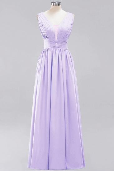 Modest Dark Green Long Bridesmaid Dress Deep V-Neck Chiffon Maid of Honor Dress_21