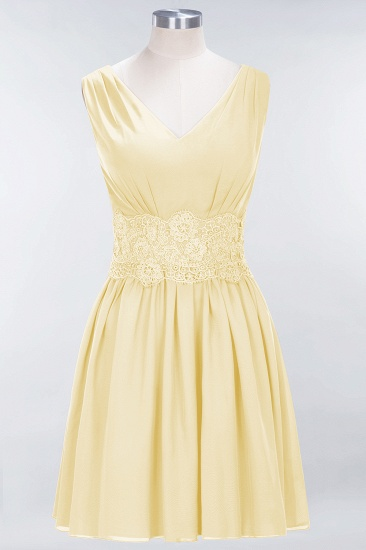 Pretty V-Neck Short Sleeveless Lace Bridesmaid Dresses Online_18