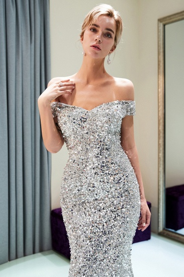 BMbridal Affrodable Mermaid Off-the-shoulder Prom Dresses Long Sequins Silver Evening Gowns Online_7