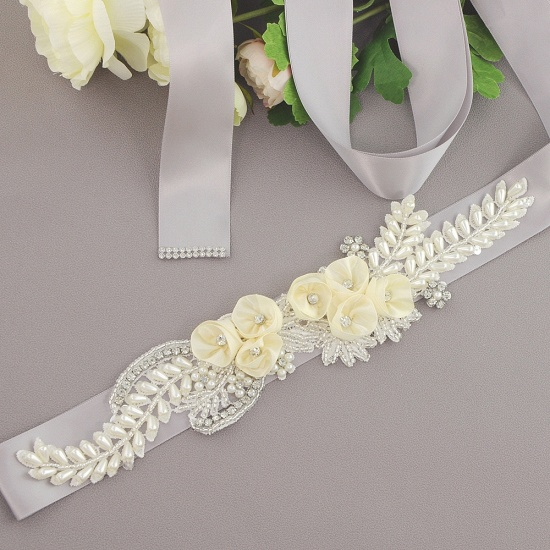 BMbridal Handmade Flower Pearl Wedding Sash with Beadings_13