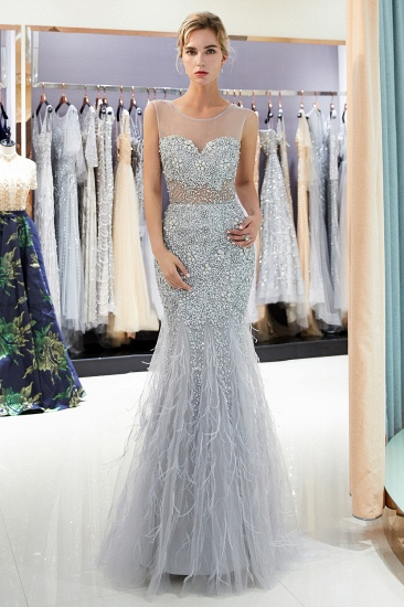 BMbridal Chic Mermaid Sleeveless Prom Dresses Illusion Neckline Crystal Sqeuined Tulle Evening Dresses_1