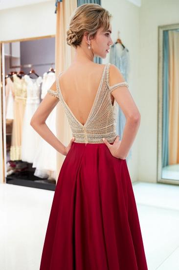 BMbridal Elegant V-neck Sleeveless Burgundy Prom Dresses A-line Crystal Beading Evening Dresses On Sale_7