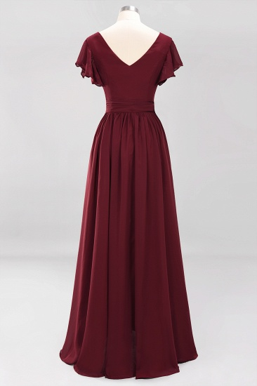 Burgundy V-Neck Long Bridesmaid Dress With Short-Sleeves_59