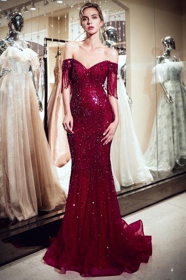 BMbridal Elegant Mermaid Off-the-shoulder Prom Dresses V-neck Sequins Long Evening Dresses_5