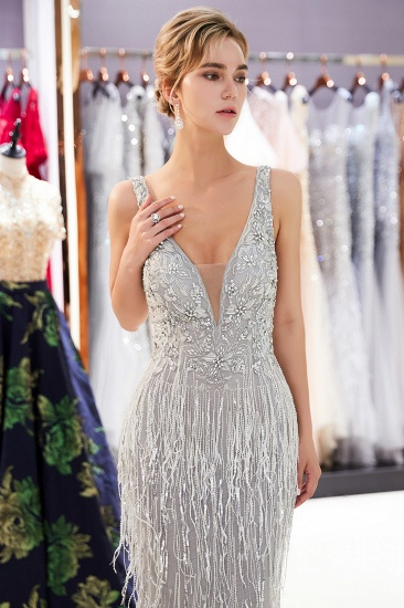 BMbridal Sexy Deep V-Neck Mermaid Silver Prom Sleeveless Sleeveless Crystals Formal Dresses with Tassels_7