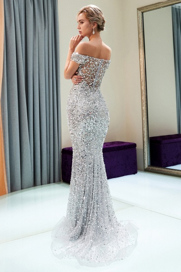 BMbridal Affrodable Mermaid Off-the-shoulder Prom Dresses Long Sequins Silver Evening Gowns Online_3