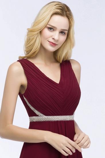 BMbridal Chiffon Burgundy Long Affordable Bridesmaid Dress With Beading Sash_5