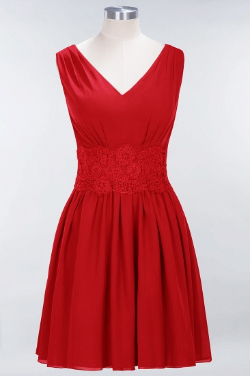 Pretty V-Neck Short Sleeveless Lace Bridesmaid Dresses Online_8