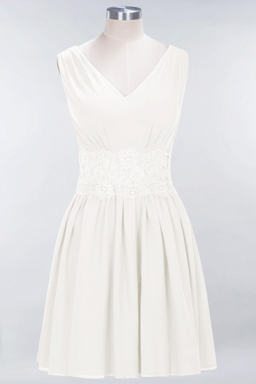 Pretty V-Neck Short Sleeveless Lace Bridesmaid Dresses Online_2