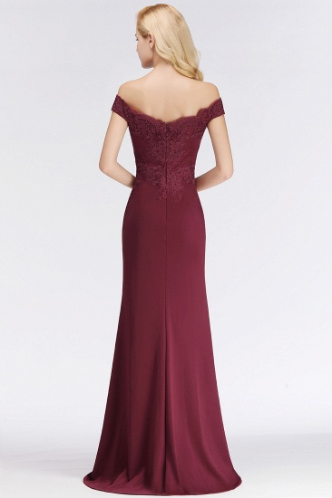 Elegant Mermaid Off-the-Shoulder Burgundy Bridesmaid Dresses with Lace_11