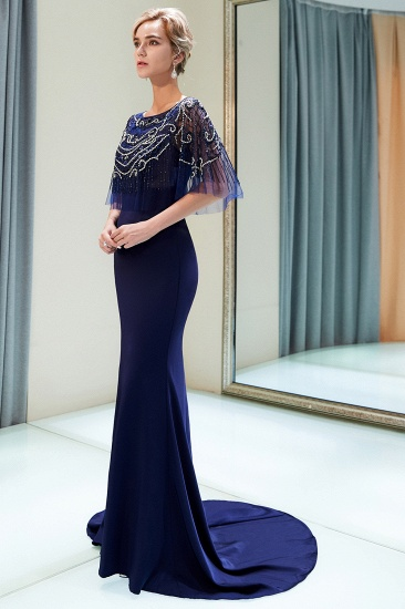 BMbridal Gorgeous Mermaid Jewel Long Prom Dresses Navy Beading Formal Dresses with Crystals_5