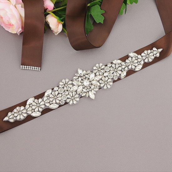 BMbridal Satin Flowers Pattern Wedding Sash with Pearls_6