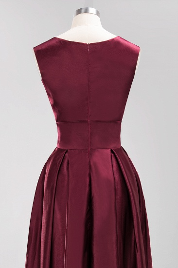 Vintage Deep-V-Neck Long Burgundy Bridesmaid Dress Online_9